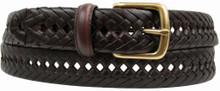 big men's brown braided leather belt