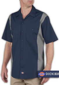 casual big and tall Navy Gray Dickies Work Shirt 4X