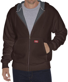 Big & Tall Men's Dickies Full Zip Fleece Hoodie Thermal Lined 3XL-5XL 2XLT 3XLT Brown FRONT