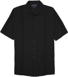 Big & Tall Men's Cabana Shirt Front Pleats by Indygo Smith, Black, Full Image