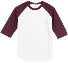 Baseball 3/4 Sleeve Raglan T-Shirt 3XL 5XL 6XL White/Wine #590F