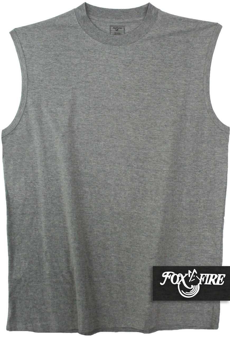 Gray Sleeveless Muscle Tee For Big And Tall Men By Foxfire