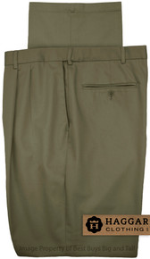 Olive Pleated Pants by Haggar for Big & Tall Men