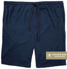 Navy Jersey Shorts with Outside Drawstring by Falcon Bay