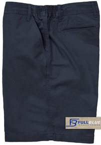 Navy Casual Cotton Shorts Expandable Waist