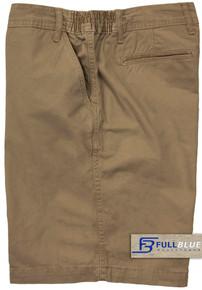 Khaki Casual Cotton Shorts Expandable Waist