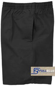 Black Pull-On Cotton Shorts Full Elastic Waist by Full Blue
