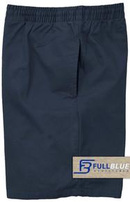 Navy  Pull-On Cotton Shorts Full Elastic Waist by Full Blue