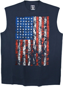 Foxfire Printed Muscle Tee NAVY 2XL - 10XL 2XLT - 6XLT Large Flag #959G