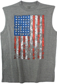 gray muscle tee with large american flag print
