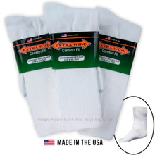 Extra Wide Socks White ATHLETIC CREW 3-Pack LARGE 12-16 #1214E