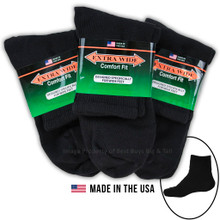 Extra Wide Socks BLACK - ATHLETIC QUARTER 3-Pack Size LARGE 12-16