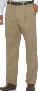 Khaki pleated casual pants by Savane