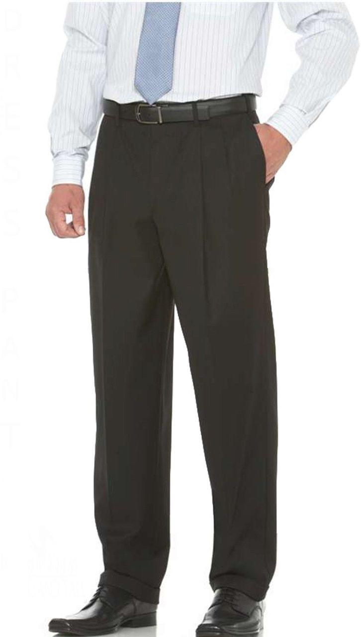 Big /& Tall Expandable Waist Crosshatch Dress Pants by Savane Waist 42-60