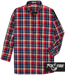 Foxfire Soft Flannel Shirt RED/Navy Plaids 3XB 4XL 5XB #475A