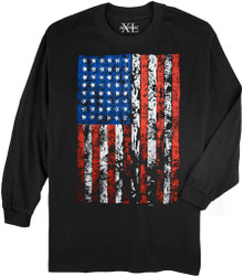 Black NewportXL Long-Sleeve Printed T-Shirt LARGE FLAG