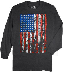 Charcoal NewportXL Long-Sleeve Printed T-Shirt LARGE FLAG