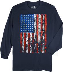 Navy NewportXL Long-Sleeve Printed T-Shirt LARGE FLAG