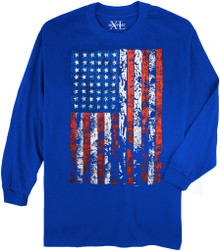 Royal Blue NewportXL Long-Sleeve Printed T-Shirt LARGE FLAG