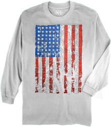 White NewportXL Long-Sleeve Printed T-Shirt LARGE FLAG