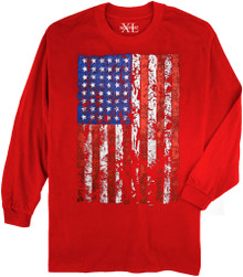 Red NewportXL Long-Sleeve Printed T-Shirt LARGE FLAG