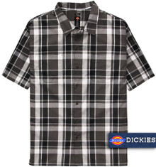 Dickies Relaxed Fit Plaid Camp Shirt CHARCOAL