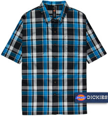 Dickies Relaxed Fit Plaid Camp Shirt BLUE/Black