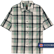 Dickies Relaxed Fit Plaid Camp Shirt GRAY/Mint