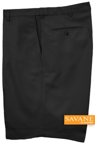 Black Savane Microfiber Casual Shorts Expandable Waistband
