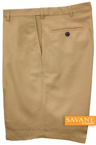 Khaki Savane Microfiber Casual Shorts Expandable Waistband