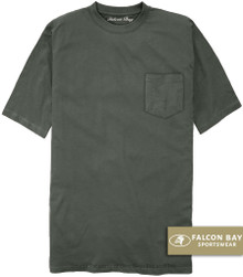 Charcoal Gray Falcon Bay 100% Cotton Pocket T-Shirt