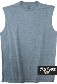 Heather Blue Foxfire Cotton Muscle Tee