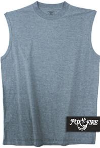 Heather Blue Foxfire Cotton Muscle Tee