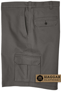 Gray Haggar Cargo Shorts with Expandable Waistband
