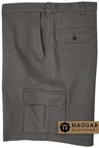 Gray Haggar Cargo Shorts with Expandable Waistband