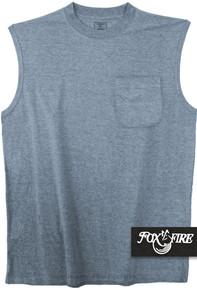 Heather Blue Foxfire POCKET Muscle Tee