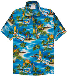 Blue Surf Paradise Hawaiian Shirt by Proper Tropics