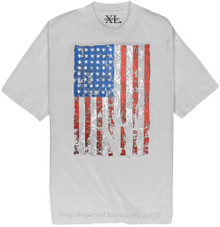 White NewportXL Printed T-Shirt LARGE AMERICAN FLAG