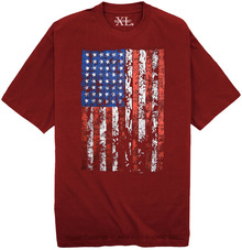 Burgundy NewportXL Printed T-Shirt LARGE AMERICAN FLAG