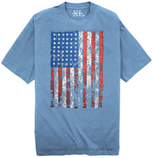 Light Blue NewportXL Printed T-Shirt LARGE AMERICAN FLAG