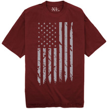 NewportX Printed T-Shirt LARGE GRAY FLAG Burgundy