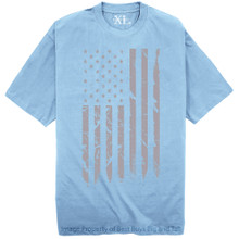 NewportX Printed T-Shirt LARGE GRAY FLAG Light Blue