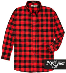 Red and Black Plaid Foxfire 100% Cotton Flannel Shirt