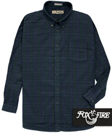 Navy and green plaid Foxfire 100% Cotton Flannel Shirt