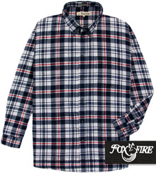 White and navy Foxfire 100% Cotton Flannel Shirt