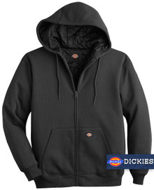 Black Dickies HEAVY FLEECE Zip Hoodie Quilted Lining