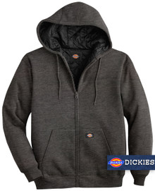 Dark Gray Dickies HEAVY FLEECE Zip Hoodie Quilted Lining