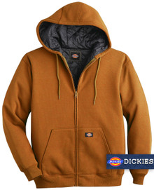 Brown Dickies HEAVY FLEECE Zip Hoodie Quilted Lining