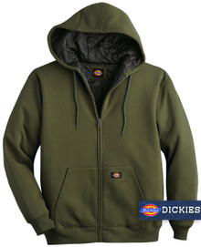Green Dickies HEAVY FLEECE Zip Hoodie Quilted Lining