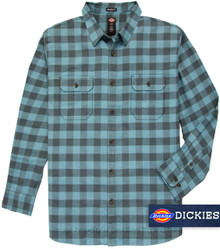 Big and tall men's blue gray plaid shirts by Dickies